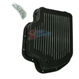 Black Aluminum Chevy Bop Gm Turbo 400 Th400 Stock Depth Transmission Pan Finned