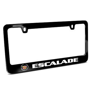 Cadillac Escalade Logo In Full color Black Metal License Plate Frame