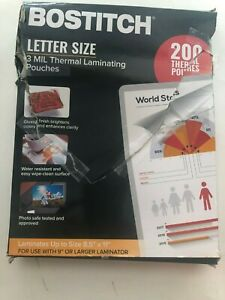 Bostitch 8 5 x11 Letter Size 3 Mil Thermal Laminating 200 Pouches