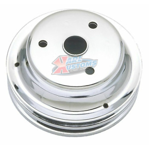 Crank Pulley 2 Groove Sbc Small Block Chevy Lwp Long Pump Chrome