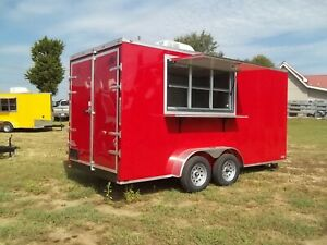 7 X 16 Enclosed Trailer Concession Finsihed W Sinks And Power Ac Vending Ready