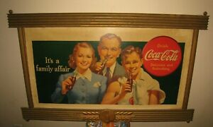 1937 Coca Cola Its A Family Affair Cardboard Sign in a KAY Wood Frame Awesome!