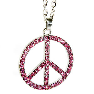 Peace Symbol Rear View Mirror Hanging Car Charm Ornament Silver Pink Gem W Chain