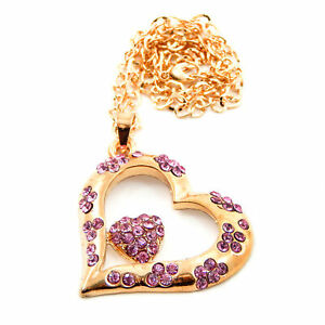 Bling Heart Rear View Mirror Hanging Car Charm Ornament Gold Pink Pendant Chain