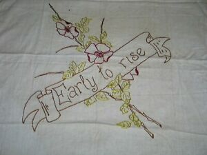 Antique Victorian Layover Pillow Sham Hand Embroidered Dogwood Flowers