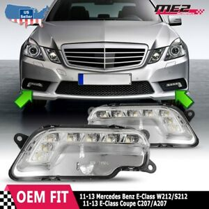 Fits 10 16 Mercedes E Class Pair Clear Lens Drl Led Day Time Running Fog Lights