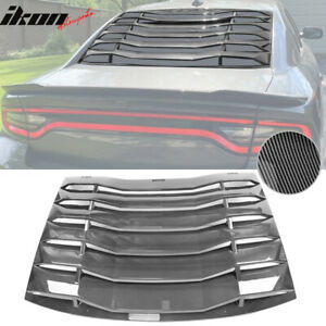 Fits 11 20 Charger Ikon Style Rear Window Louver Cover Vent Carbon Fiber Print