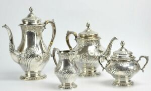 Reed Barton Sterling Silver Tea Coffee Set Hand Chased 110 Ounces