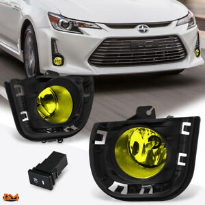 For 14 16 Scion Tc Amber Lens Front Bumper Driving Fog Light lamp switch bezel