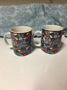 COCA-COLA Multicolored Stained Glass Coffee Mugs 1996 Gibson / Set of 2