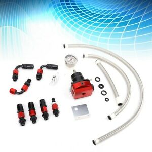 Professional Fuel Pressure Regulator Kit 0 100psi Adjustable Oil Guage An 6