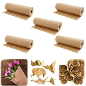 5pcs Brown Kraft Paper Roll Shipping Wrapping Cushioning Void Fill 30m