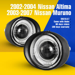 Fits 03 07 Nissan Murano 02 04 Altima Fog Lights Halo Projector Clear Lamps 2pc