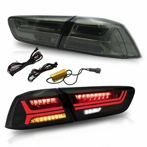 Customized Smoked Led Tail Lights With Sequential Turn Sig For 08 17 Lancer