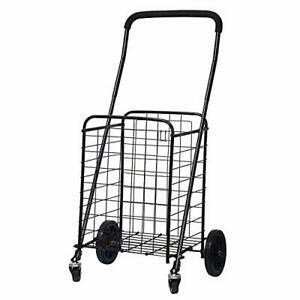 Blissun Utility Shopping Cart With Rolling Swivel Wheels black