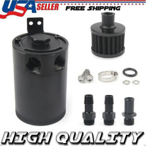 Baffled 2 Port Oil Catch Can Tank Universal Aluminum Air Oil Separator Black