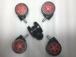 Set Of 5 Twin Swivel Wheel Caster Gaming Computer Executive Chair Gtr Racing Red
