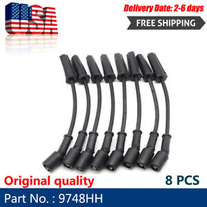 8pcs 9748hh Ac Delco Spark Plugs Wires Set For Gmc Chevy Tahoe Hummer 5 3 6 0 V8