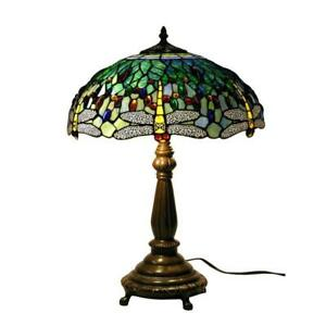 Elegant Antique Bronze Dragonfly Stained Glass Table Lamp With Pull Chain 22 In