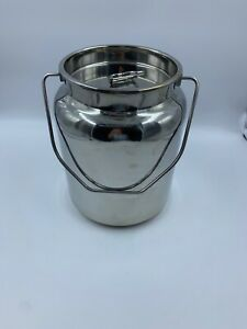 10 Quart Stainless Steel Milk Can Bucket Pail Seamless Dairy Cow Goat read
