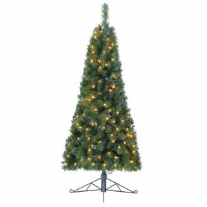 Home Heritage 5 Foot Flat Back Half Christmas Tree with Prelit White LED Lights