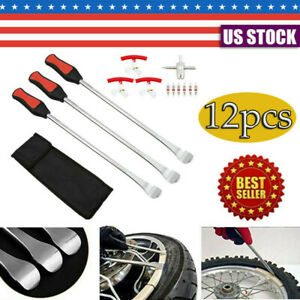 12pc Motorcycle Tire Spoon Lever Tire Change Kit W 6 Co Res 3 Rim Protector