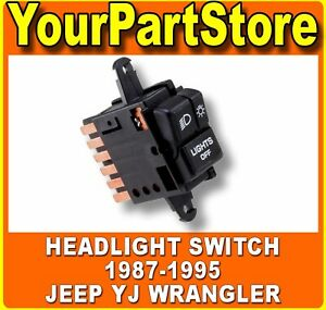 Headlamp Headlight Head Lamp Light Switch Button For 1987 1995 Jeep Yj Wrangler