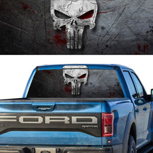 Rear Window Graphic Decal Punisher Skull Pick Up Truck Perforated Vinyl Tint