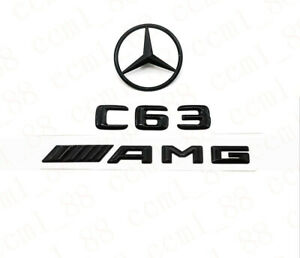Gloss Black 3d C63 Amg Logo Rear Sticker Badge Emblem For Mercedes benz W204 C63