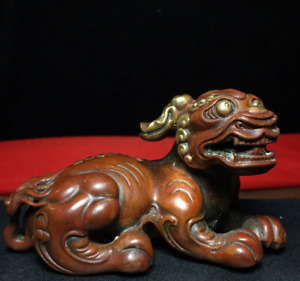 5 11 Old Chinese Antique Red Copper Gilt 24k Gold Beast Statue