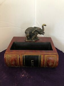 Trumpeting Metal Elephant Business Card Holder Statue Fake Book Library