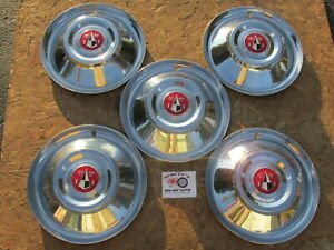 1955 Hudson Hornet Wasp Custom 15 Wheel Covers Hubcaps Lot Of 5