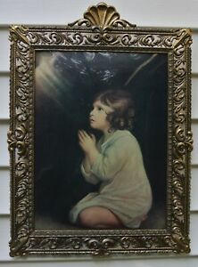 Vintage Ornate Metal Frame Convex Glass Made In Italy With Boy Praying