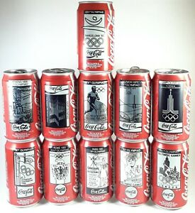 Vintage Coca Cola Set 11 Cans, OLYMPIC GAMES BARCELONA 1992, USA