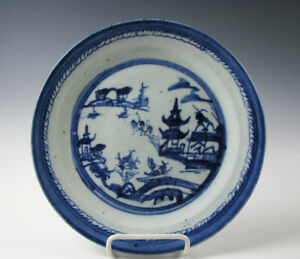 Antique Chinese Export Blue And White Porcelain Canton Pattern 10 Plate