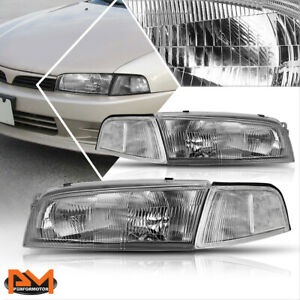 For 97 01 Mitsubishi Mirage 4 Dr Headlight Lamp Replacement Clear Corner Chrome