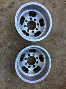 Pair Of Vintage Us Indy 8 Lug 15x10 Slot Mag Wheels Ford Chevy Dodge 8x6 5
