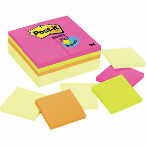 Post it Notes 3 X 3 Canary Yellow Aquatic Ultra 24 100 sheet Pads pack Pk