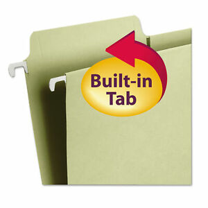 Smead Fastab Hanging File Folders 1 3 Tab Letter Moss Green 20 box Bx Smd