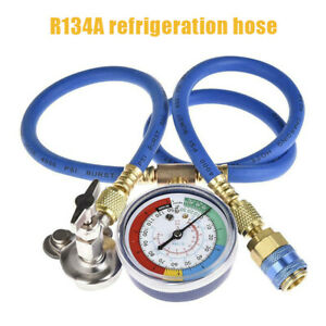 R134a A C Car Air Conditioning Refrigerant Recharge Measuring Kit Hose Gauge Us