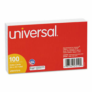 Universal Ruled Index Cards 3 X 5 White 100 pack Pk Unv47210