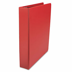 Universal D ring 3 ring Binder With Label Holder 1 1 2 In Capacity Red Ea