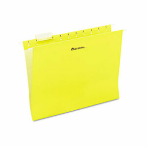 Universal Hanging File Folders 1 5 Tab 11 Point Stock Letter Yellow 25 box