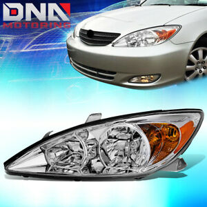For 2002 2004 Toyota Camry Driver Left Side Factory Style Headlight Lamp Chrome