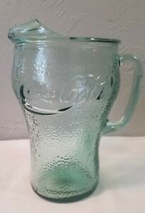 Pale Green Pebbled Glass Coke Coca-Cola Glass Pitcher with Ice Lip