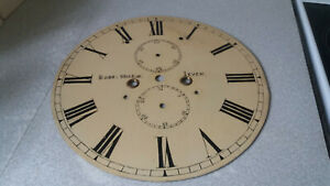 Antique Painted Enamel Grandfather Clock Face Dial Robert Wilkie Leven