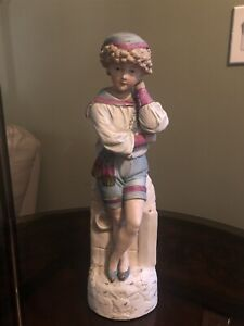 Large 14 1 2 Antique German Statue Of Boy Resting Head On Hand