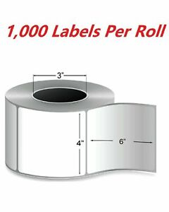 2 Rolls 4 X 6 Zebra Direct Thermal Shipping Label 2000 Labels 3 Core