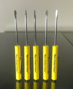 Lot Of 5 Pocket Screwdriver Yellow Strong Magnet Pocket Clip Flat Blade New