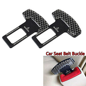 Universal Carbon Fiber Car Seat Belt Buckle Safety Insert Alarm Stop Eliminator